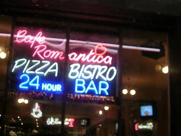 Tuck into a tasty pizza at Café Romantica