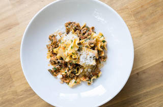 A top down shot of a pasta dish at Bombini