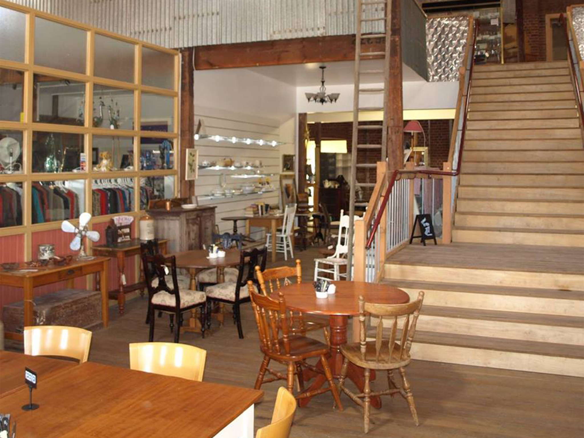 The quaint interiors of an antique store and cafe