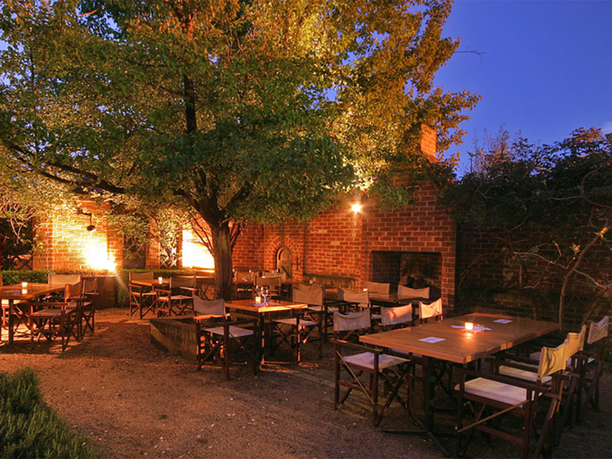 Dusk in the courtyard a restaurant