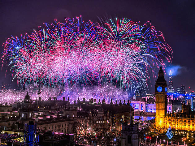 new years eve fireworks in london with big ben