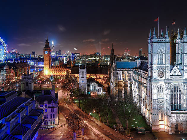 The view over London from Westminster at night, including Big Ben and Westminster Abbey