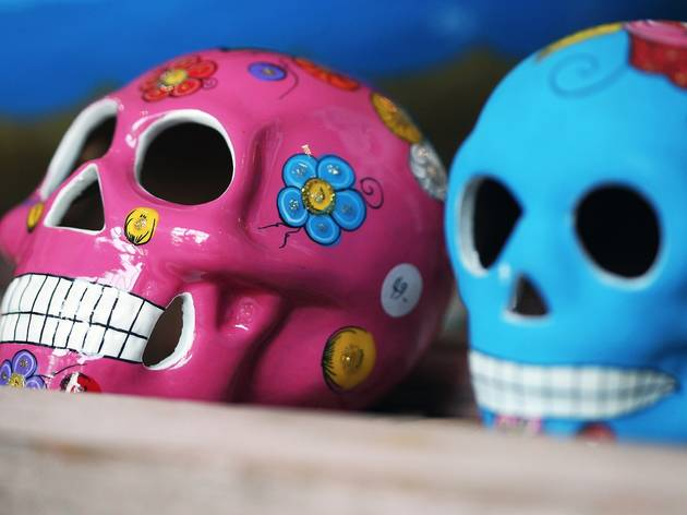 Sugar skulls painted pink and blue