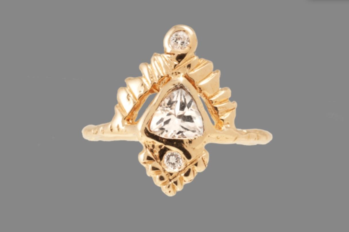 Handmade Yellow Gold, White Sapphire and White Diamond Ring by Communion Joy