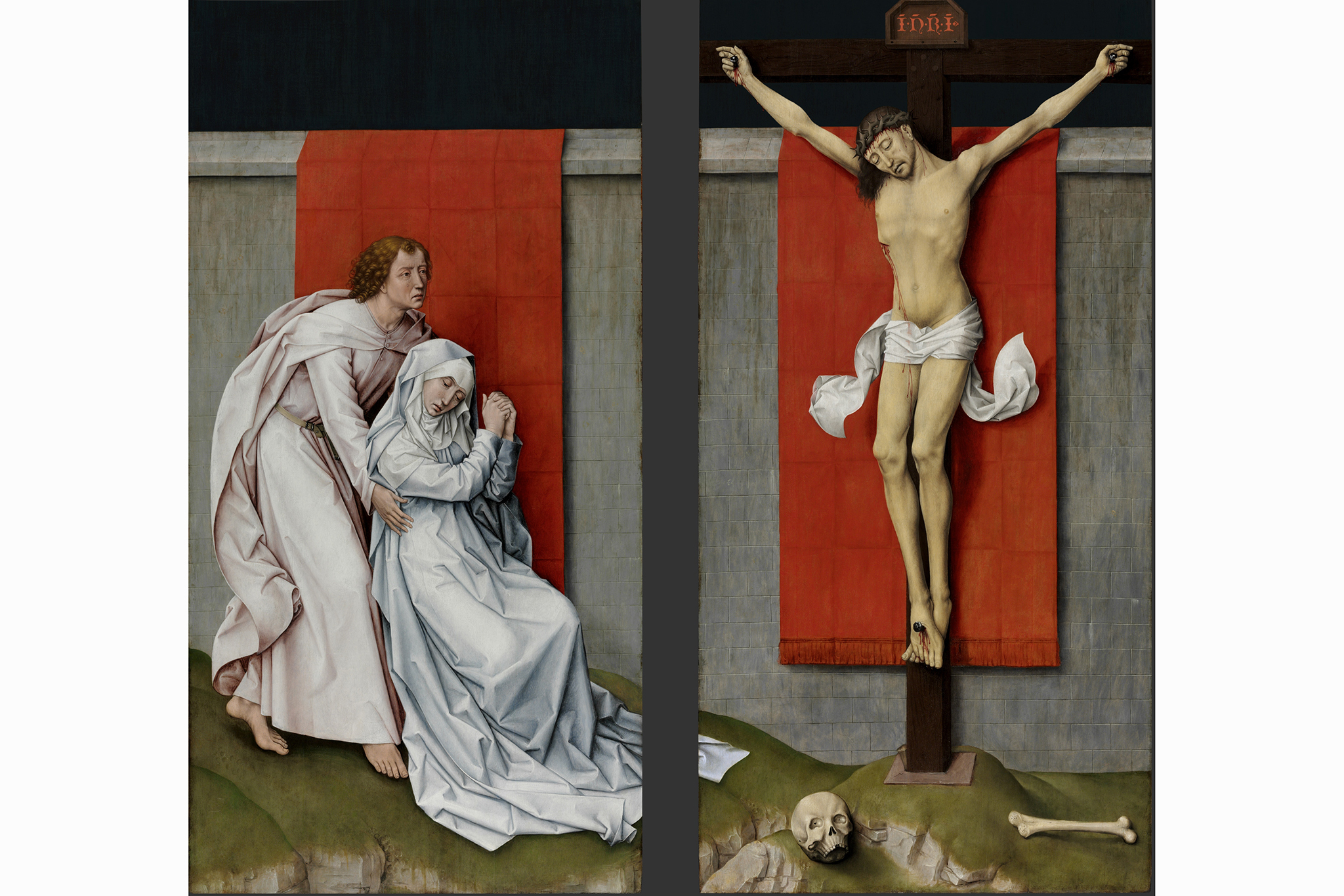 "Rogier van der Weyden, ""The Crucifixion, with the Virgin and Saint John the Evangelist Mourning,"" c. 1460"