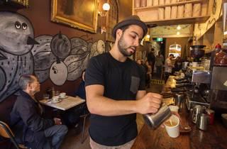A barista pours milk into an espresso at Circa Espresso