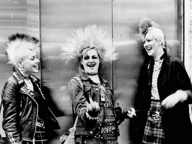 Punk London: Three punks with mohicans, Chelsea, Kings Rd