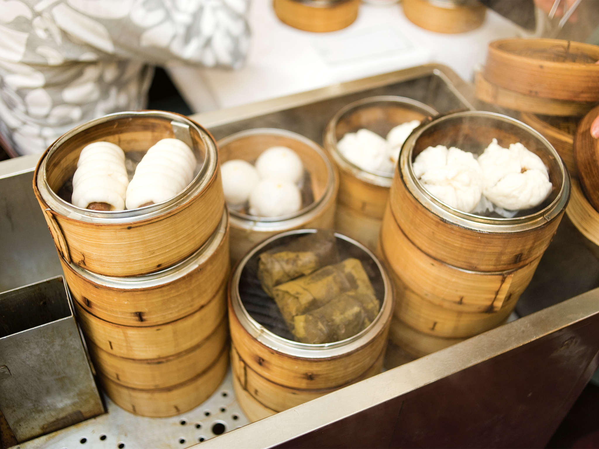 An array of steamed options at yum cha