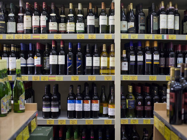 Wine bottles on display shelf