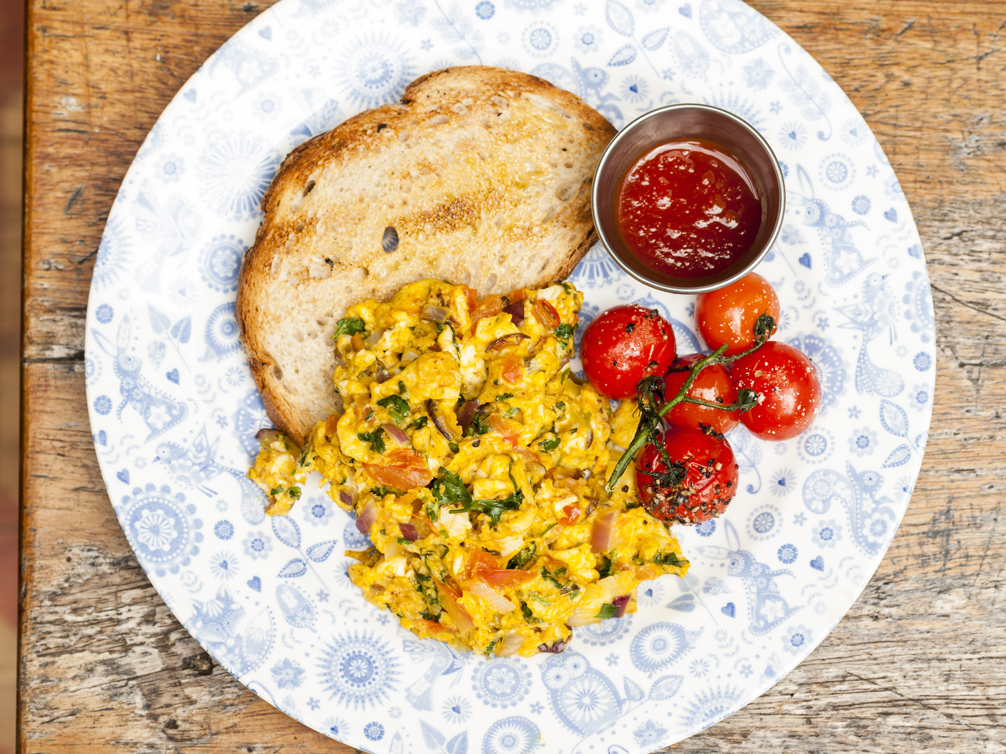 Egg dishes in London, akuri at Dishoom