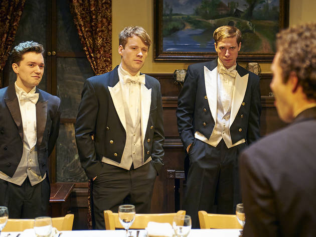 Matthew Garry, Dash Barber, Michael Holding and Sean Wiberg in Posh at Steep Theatre