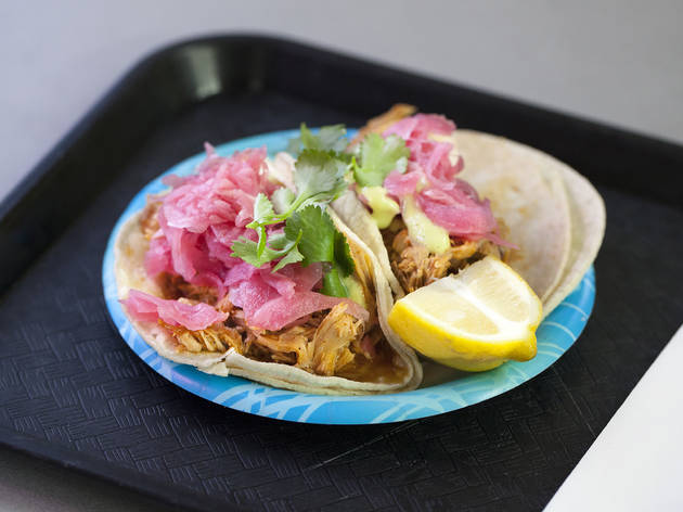 Cochinita pibil tacos at La Flor de Yucatan