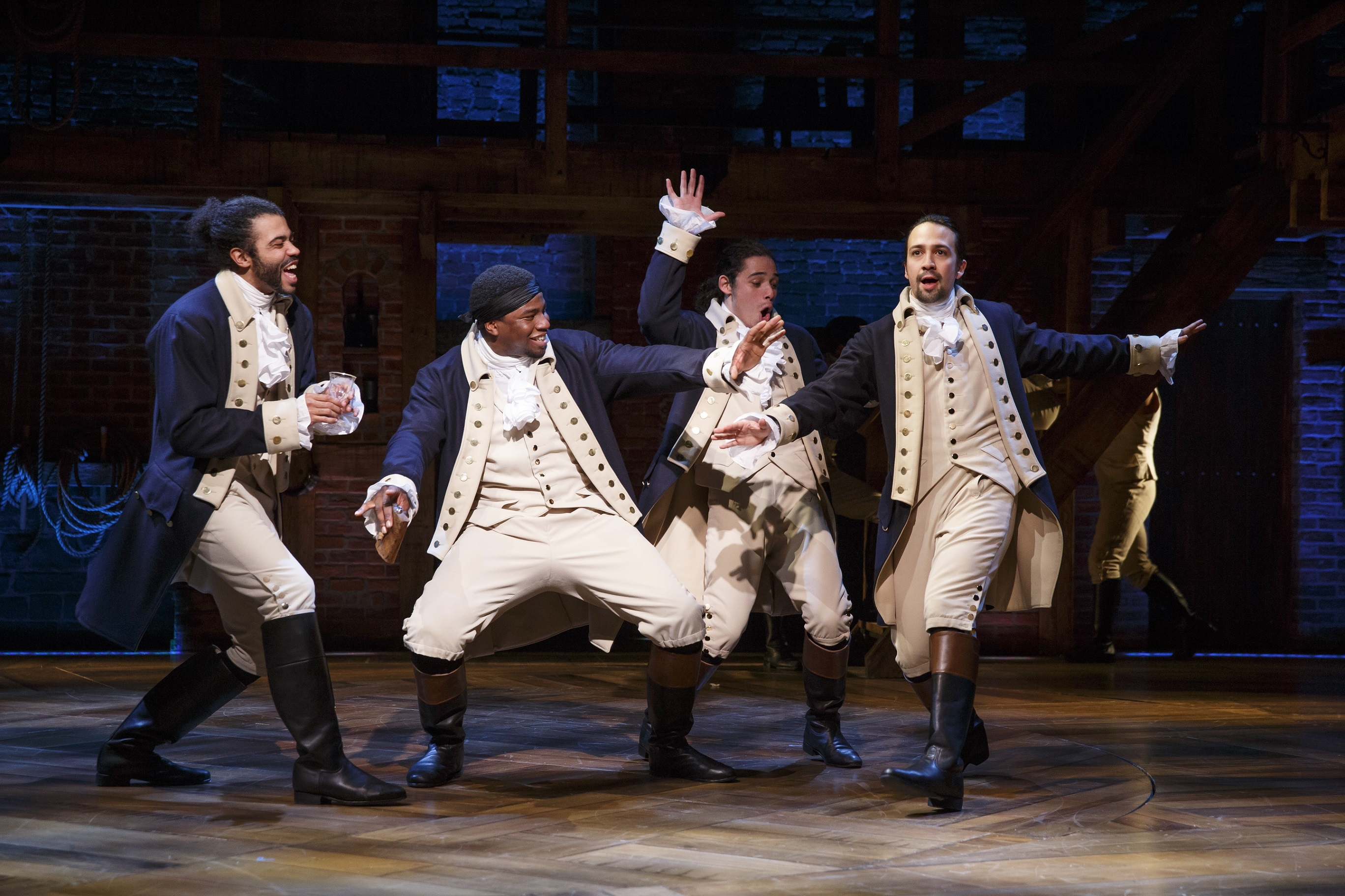 Daveed Diggs, Okieriete Onaodowan, Anthony Ramos, and Lin-Manuel Miranda in the original Broadway Cast of Hamilton.