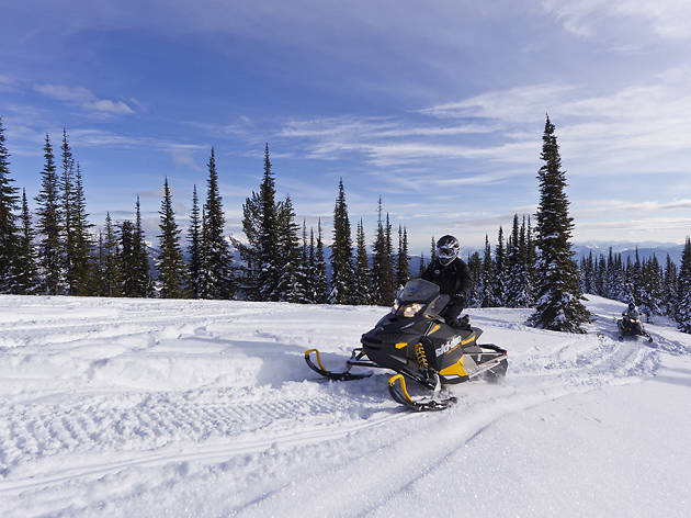 Ride a snowmobile on Desert Mountain