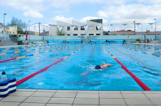 A swimmer at Fitzroy outdoor Swimming Pool