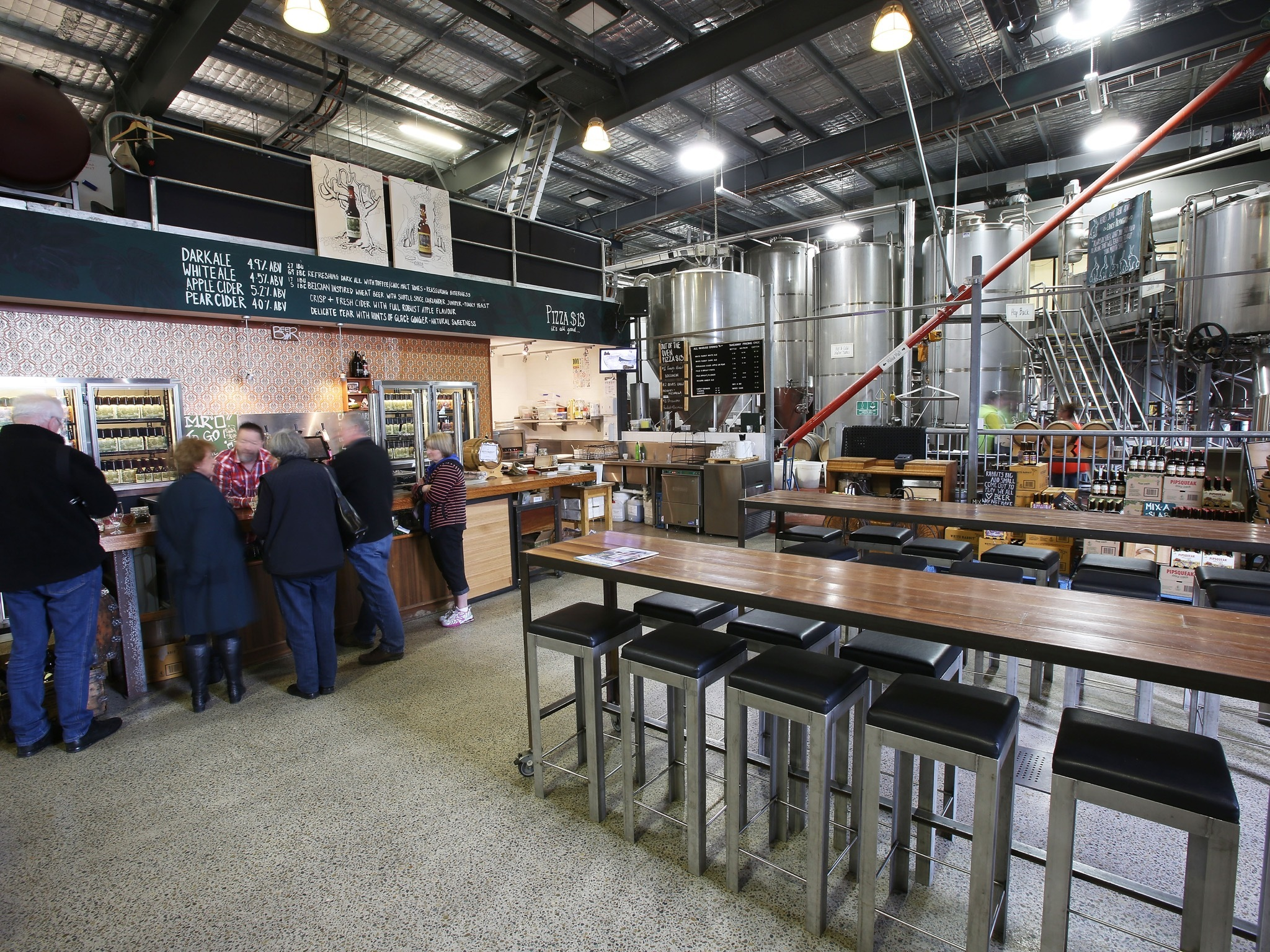 An interior shot at White Rabbit Brewery showing the bar and sea