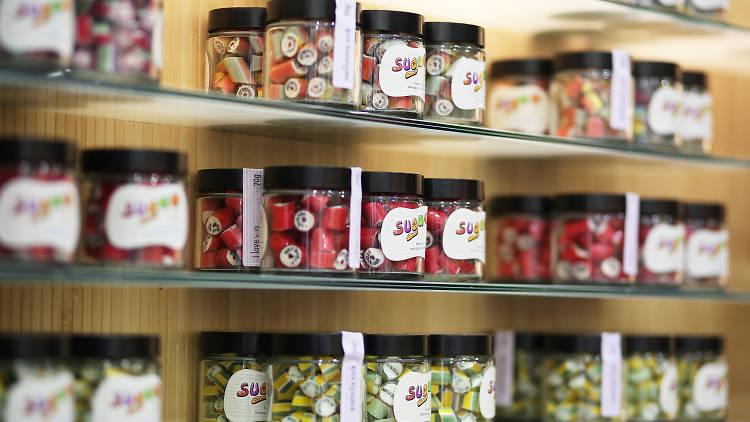 Jars of candy at Suga
