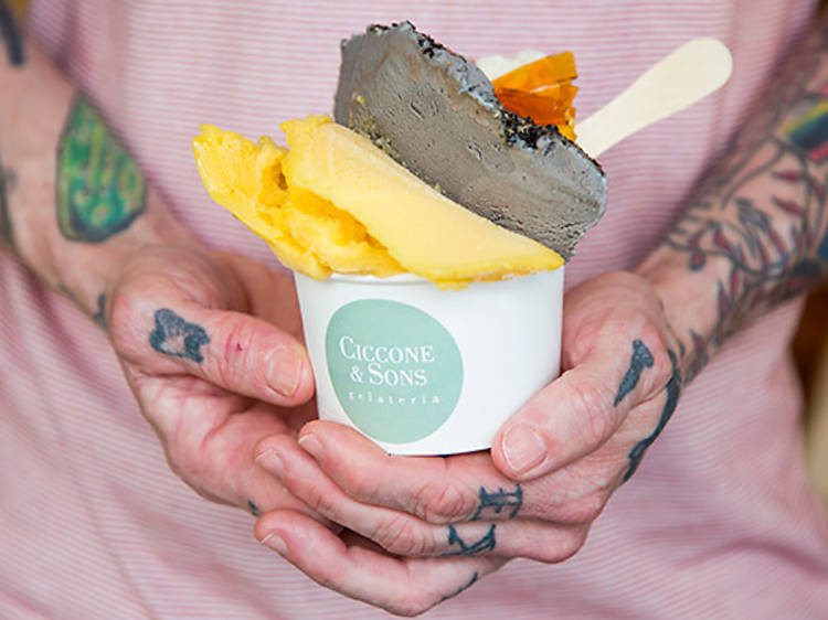Buttermilk and passionfruit gelato, Ciccone and Sons
