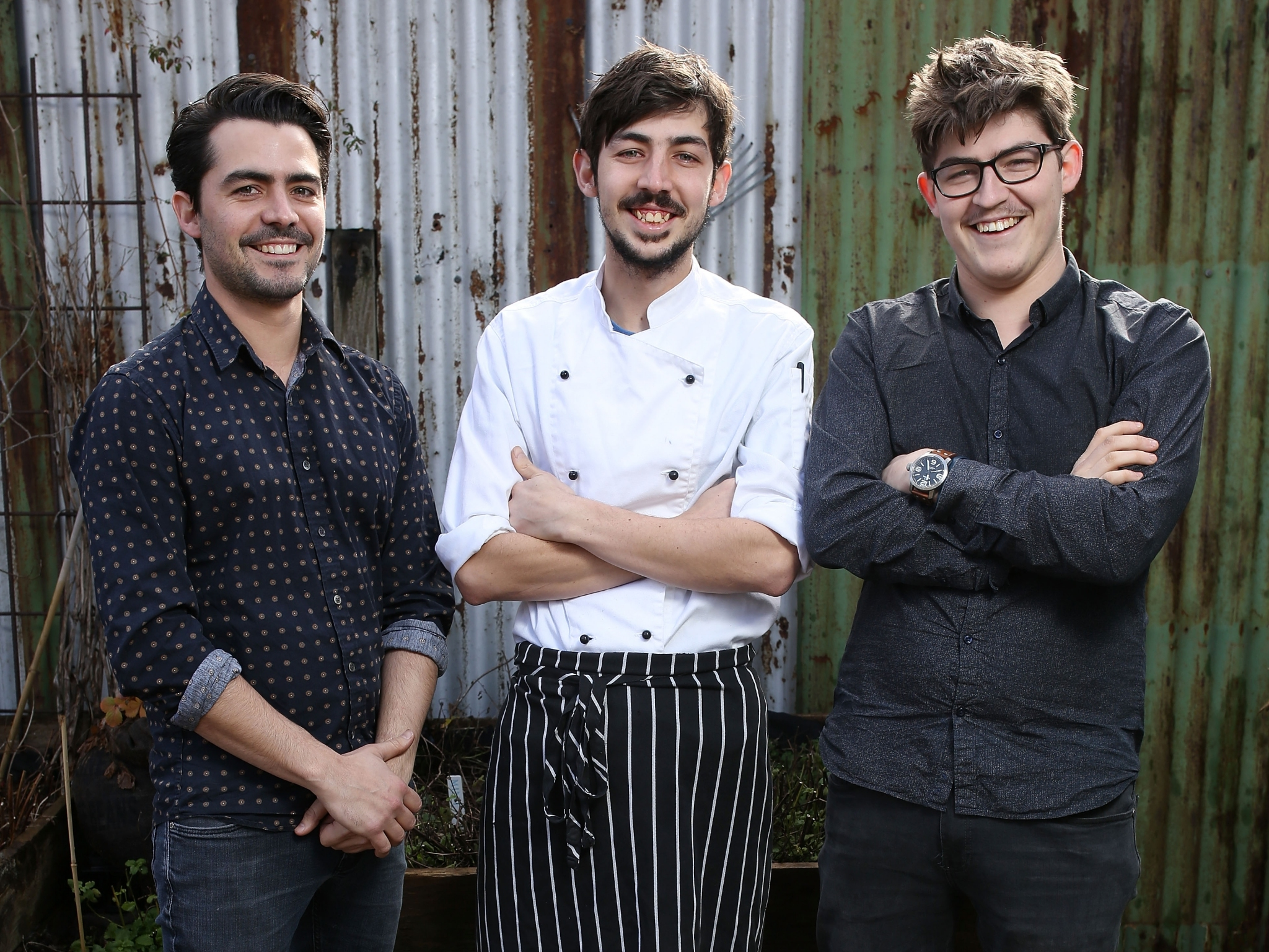 A portrait of brothers Tyson, Chayse and Blayne Bertoncello from O.My restaurant in Beaconsfield