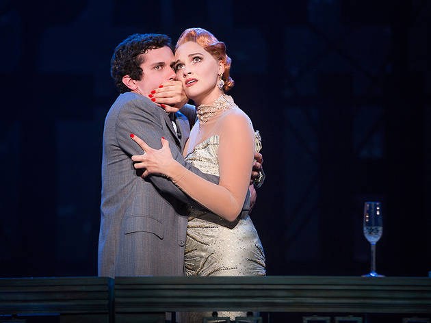 Michael Williams and Emma Stratton in the North American tour of Bullets Over Broadway