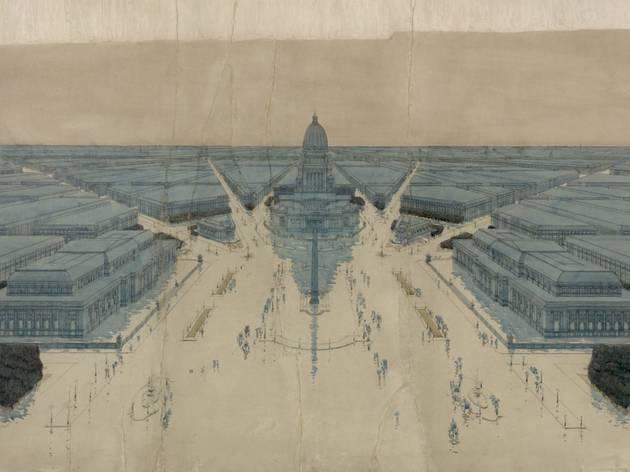 (Jules Guerin's painting of Burnham and Bennett's plan for post-fire Chicago, 1909. ©Art Institute of Chicago)