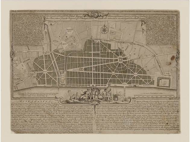 (Sir Christopher Wren's plan for rebuilding the City of London after the Great Fire of 1666. © RIBA Collections)