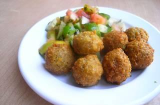 Falafel on a plate.