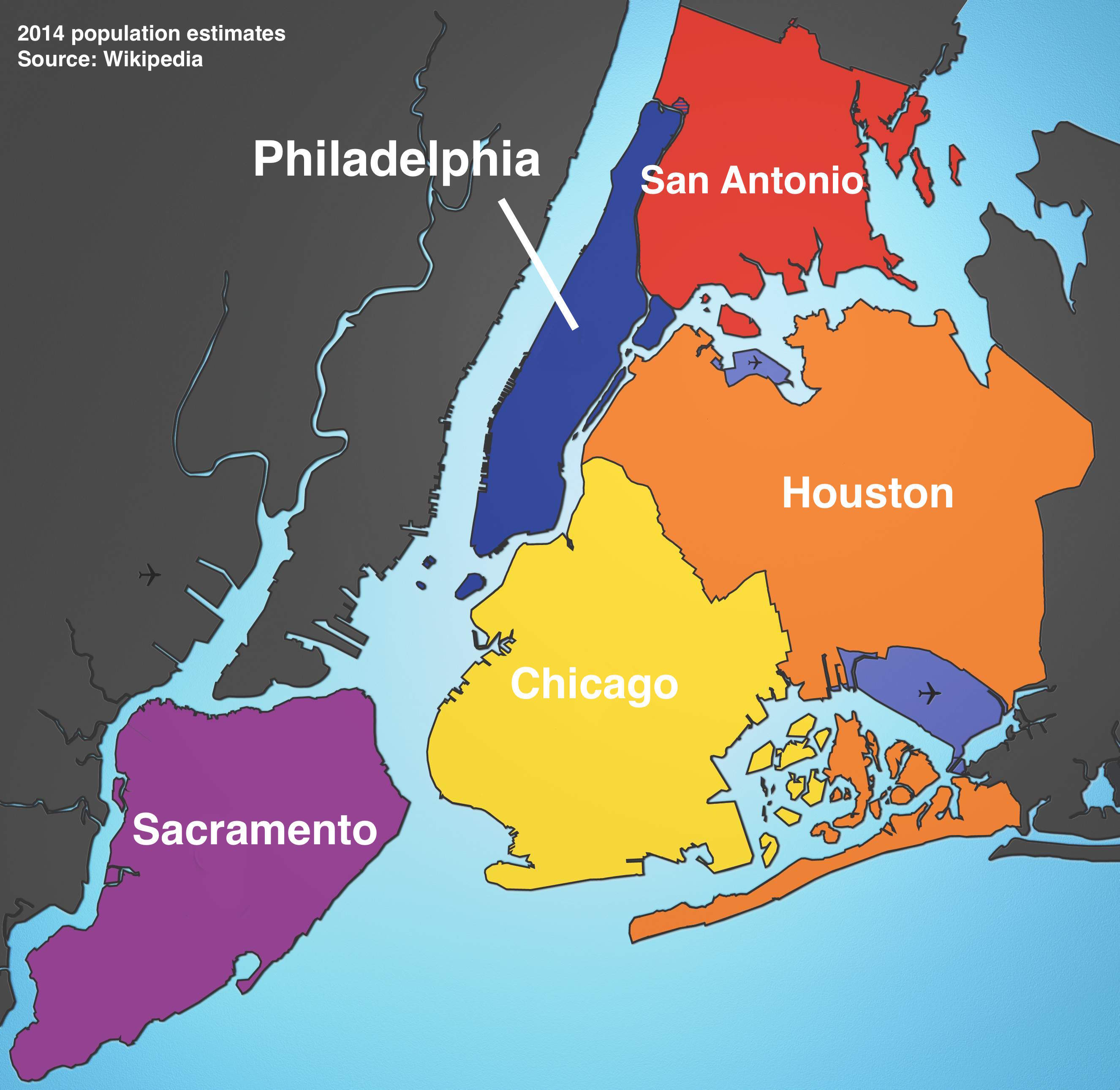 Map Of New York And Philadelphia These maps show just how big NYC is compared to other cities