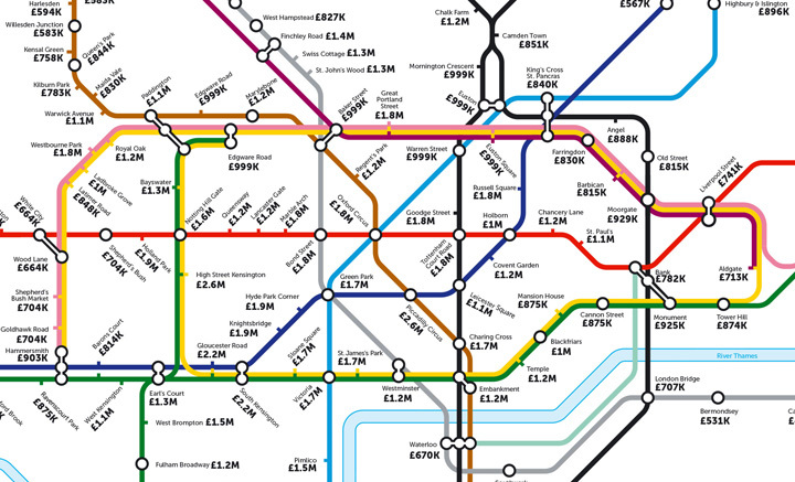 This alternative tube map shows the average house price at every station