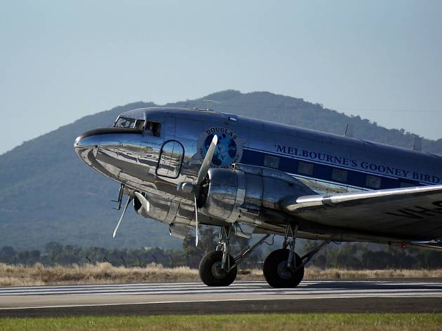A DC-3 Gooney Bird airplane used for Silver Clipper dinner flights