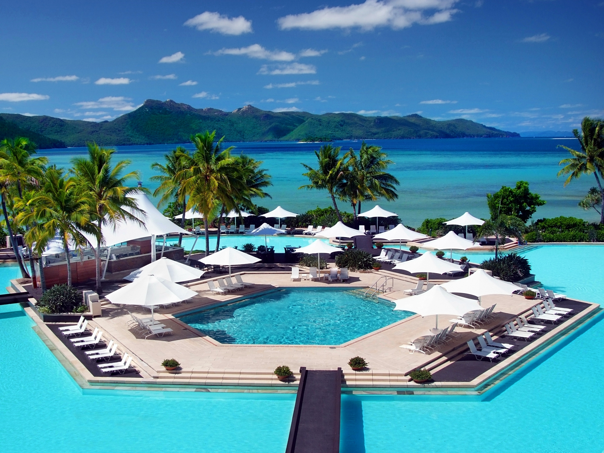 The main pool at the luxury Hayman Island resort in Queensland