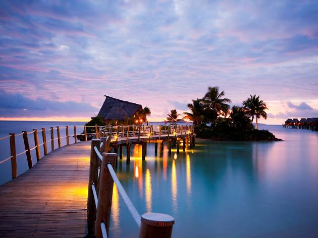 An overwater bungalow at the Likuliku Lagoon Resort in Fiji