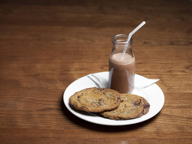 Chocolate chip cookie & chocolate milk at Little Pine