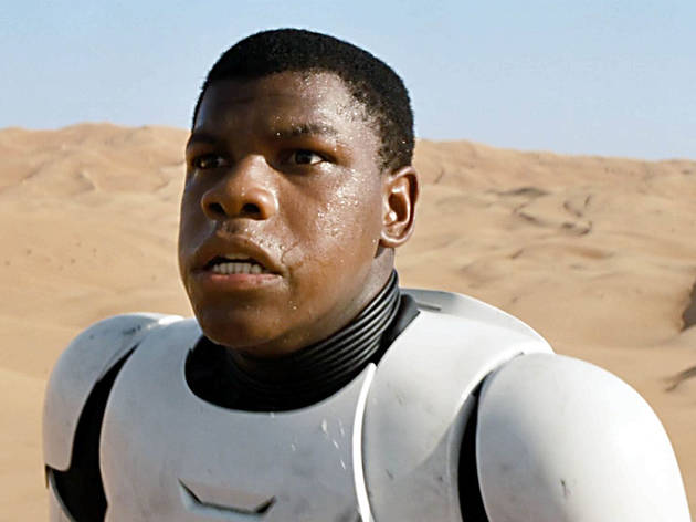 Actor John Boyega playing a stormtrooper in Star Wars: The Force Awakens