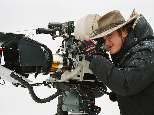 Quentin Tarantino on location filming