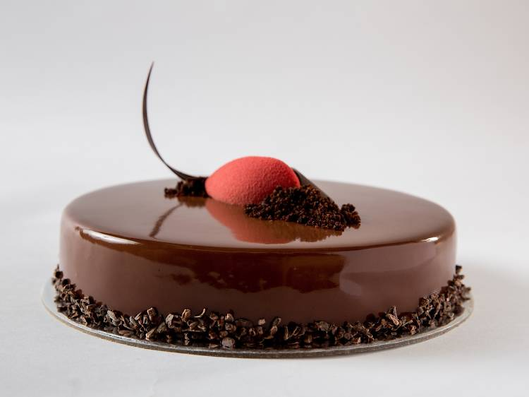 Textbook Chocolate, hazelnut and raspberry cake