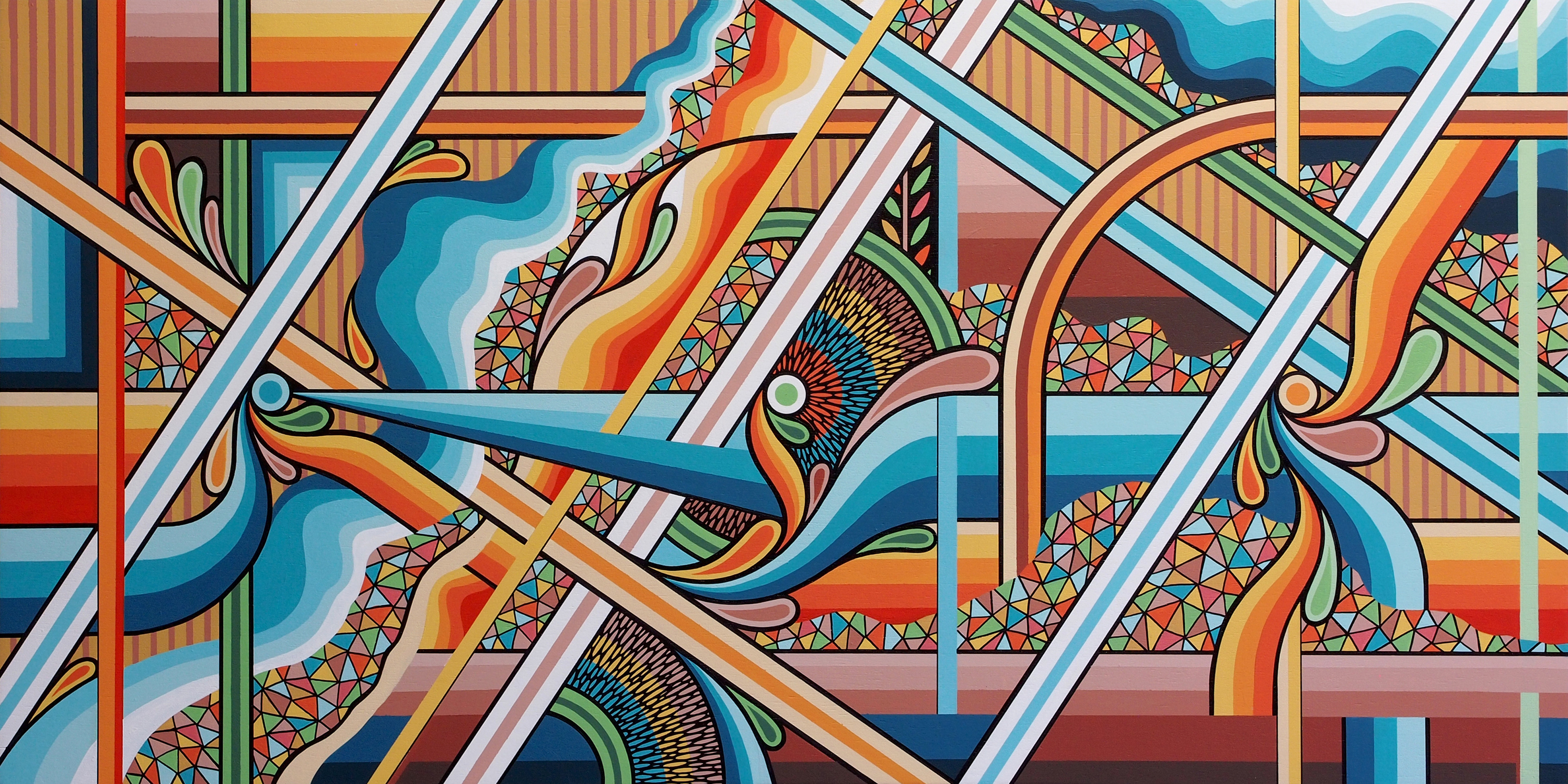 'Converge – A Topographic Abstraction of the Pilbara'. Acrylic & ink on 120x60cm mounted plywood.