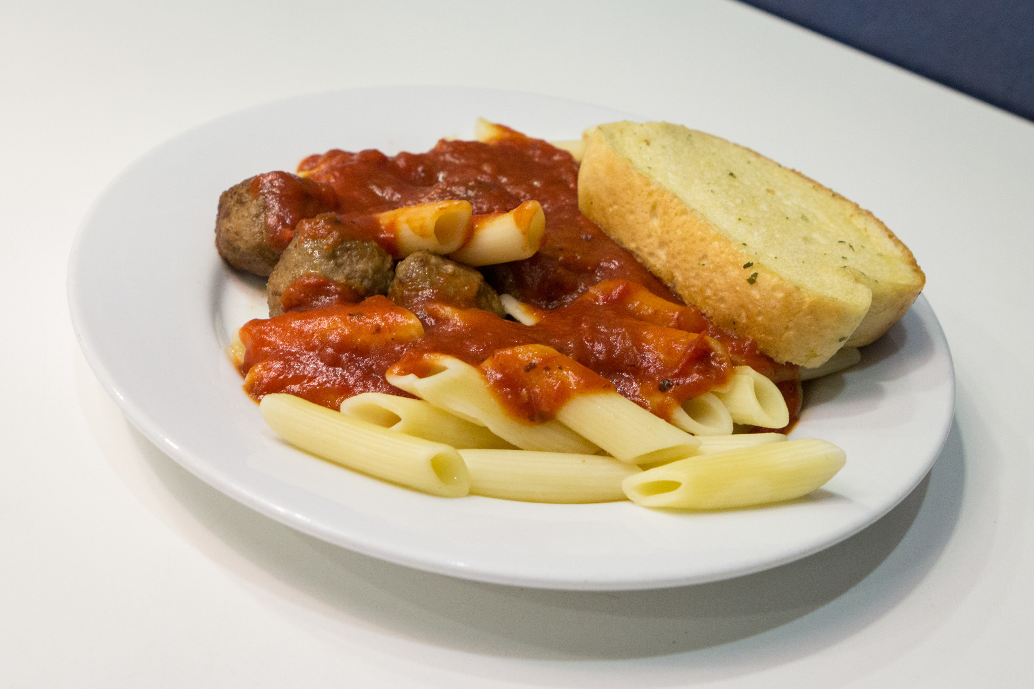 Pasta with meatballs and garlic bread at IKEA Burbank