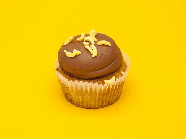 Banana & chocolate cupcake at Crumbs & Doilies