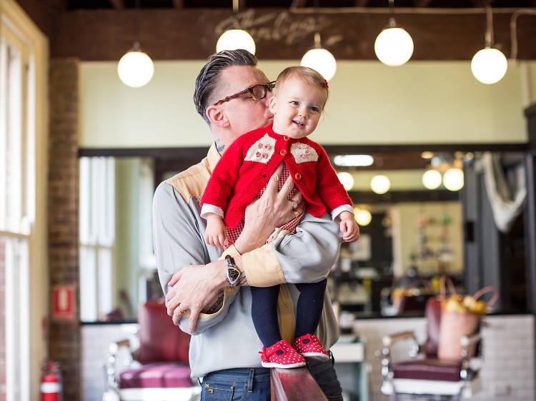 Tony Vacher, 48, and Violet Doris, 14 months