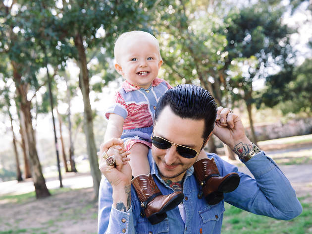 Elvis Abrahanowicz and daughter Maybellene in the park