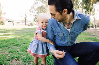 Elvis Abrahanowicz and his daughter Maybellene in the park