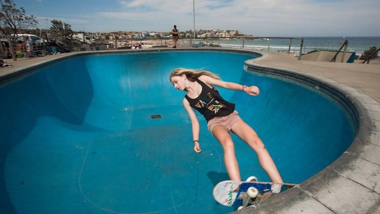 Girl on skateboard at Bondi Bowl
