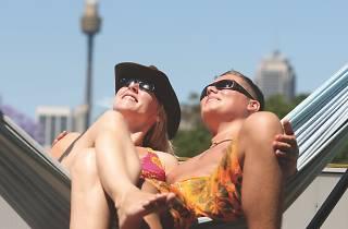 Two people on Glebe YHA rooftop