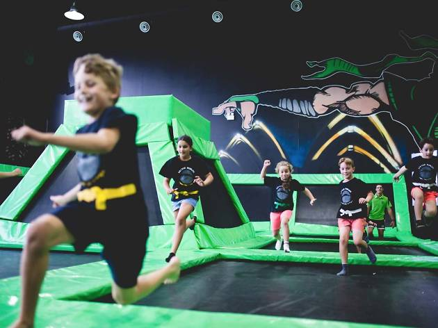 Children on trampolines at Flip Out