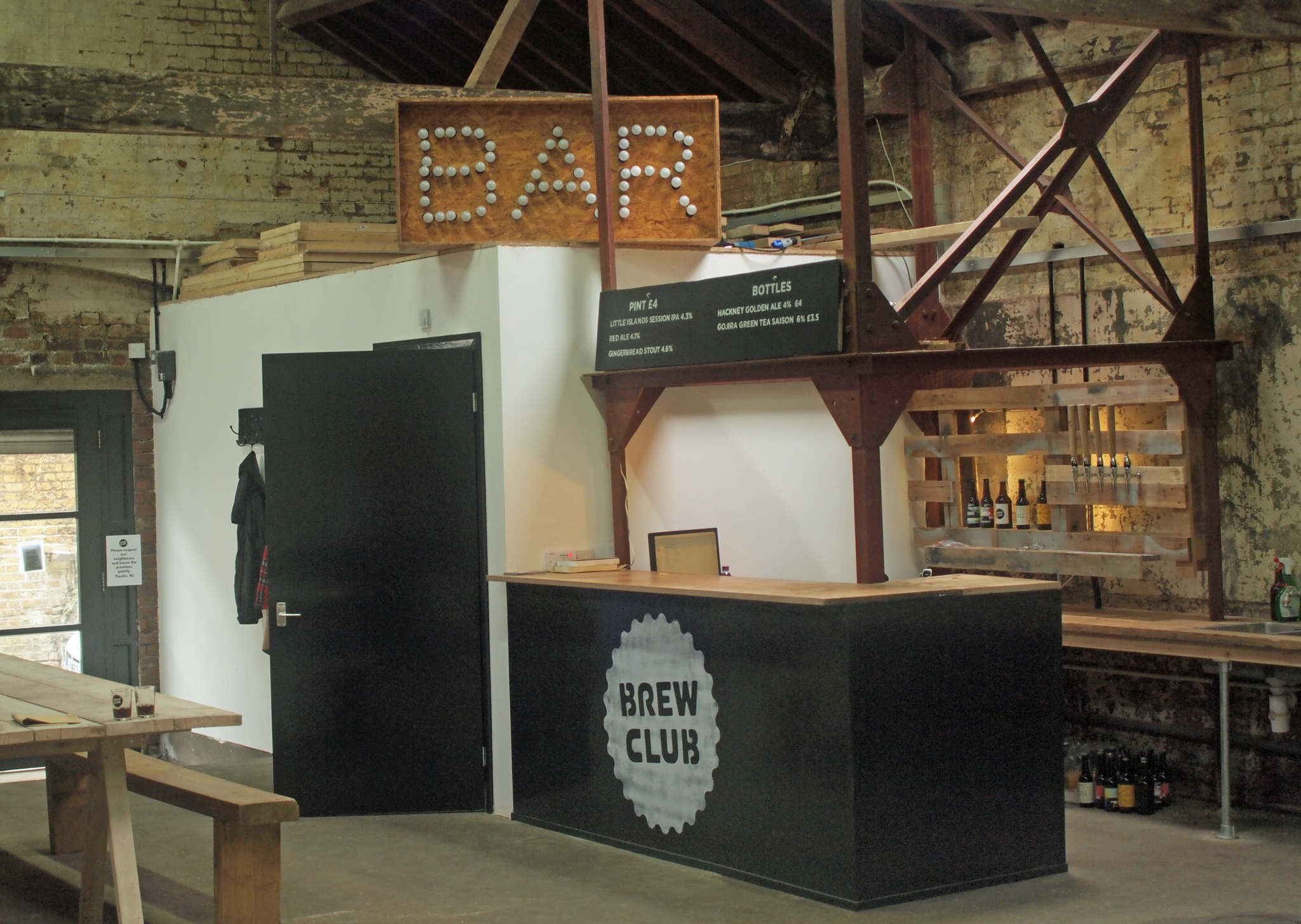 The taproom bar at Brew Club, Clapton