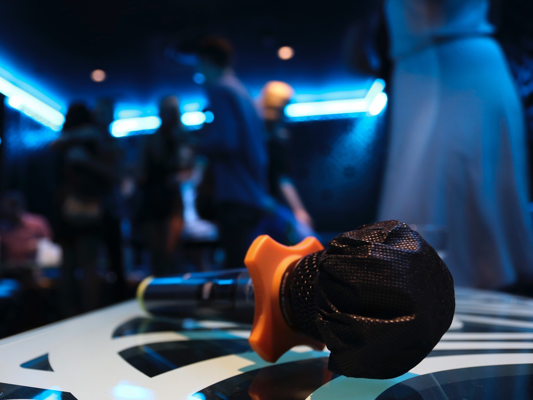 Karaoke microphone on a table