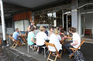 Diners outside the front exterior at North Carlton Canteen
