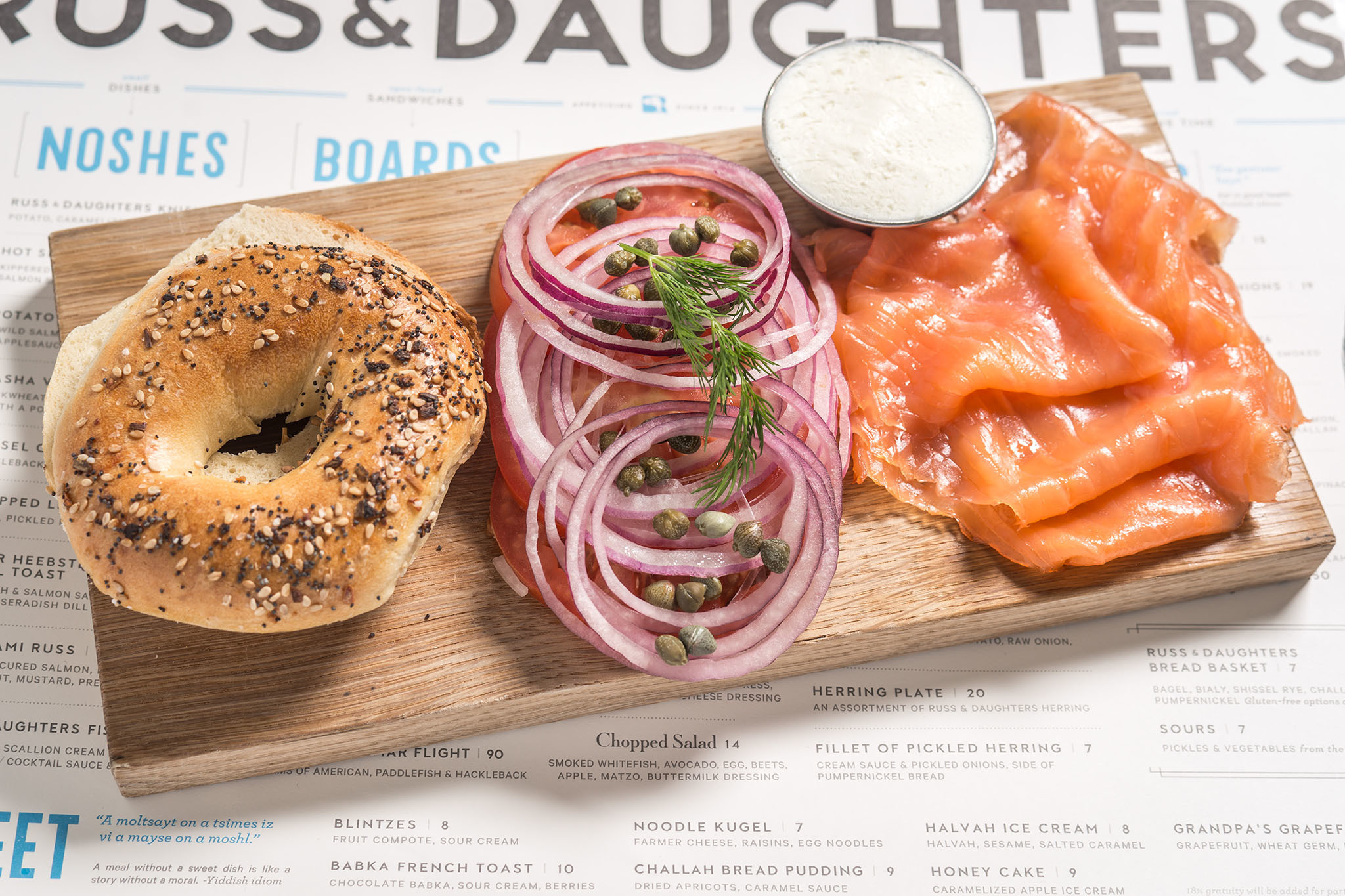 Classic brunch board at Russ & Daughters