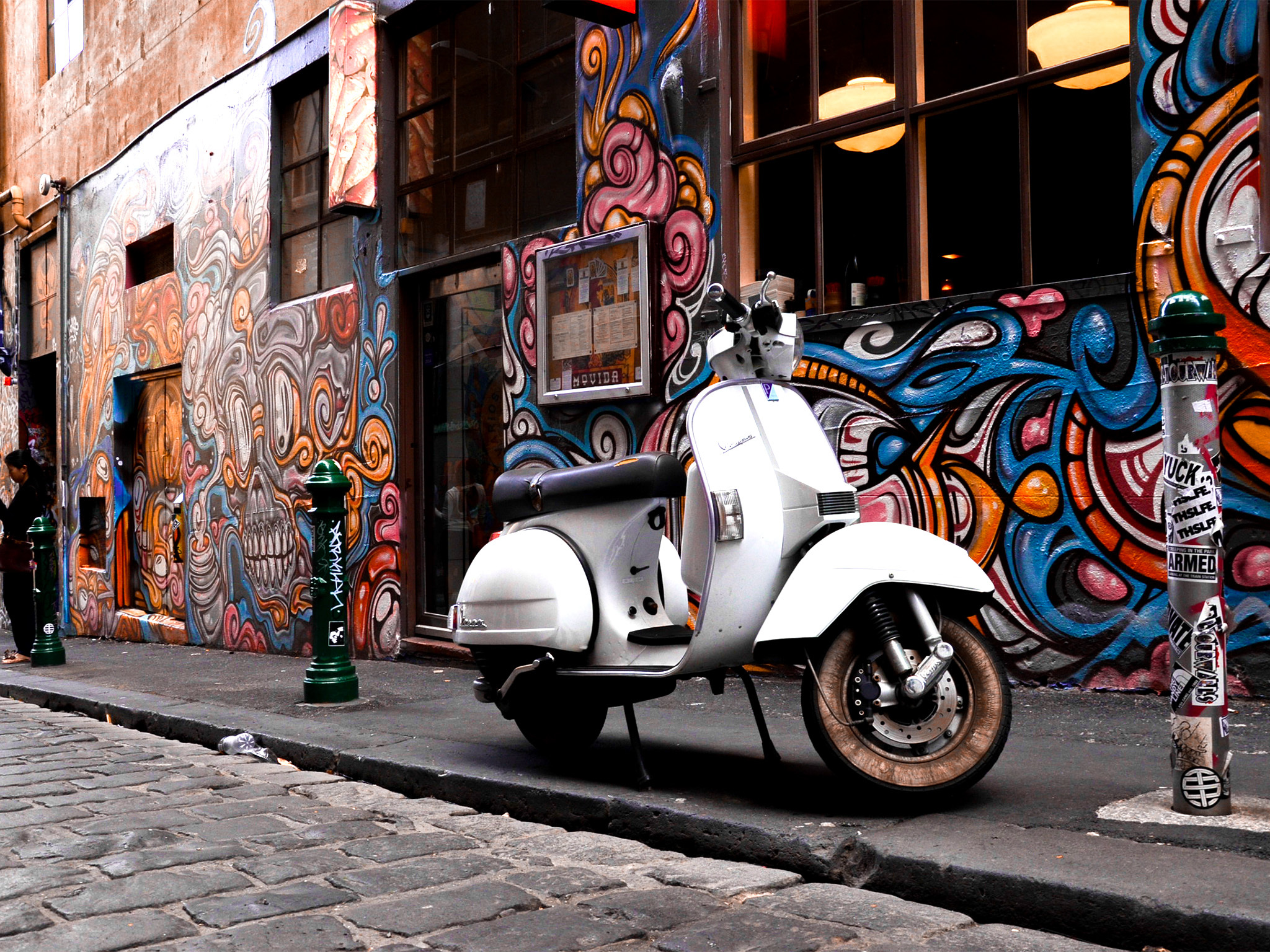 Vespa infront of street art in Hosier Lane